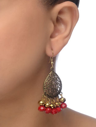 Red Gold Tone Beaded Earrings