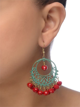 Red-Blue Gold Tone Beaded Earrings
