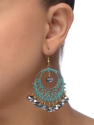 Grey-Blue Gold Tone Beaded Earrings