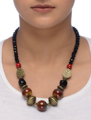 Black-Rust Gold Tone Beaded Ceramic Necklace