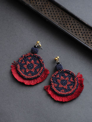 Red-Blue Beaded Earrings with Tassels