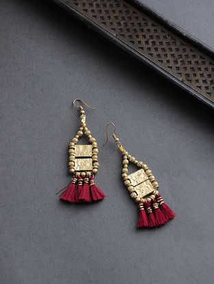 Red Gold Tone Earrings with Tassels