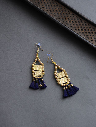 Blue Gold Tone Earrings with Tassels