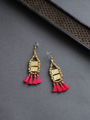 Pink Gold Tone Earrings with Tassels