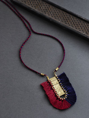 Red-Blue Gold Tone Thread Necklace with Tassels