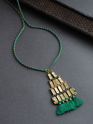 Green Gold Tone Thread Necklace with Tassels