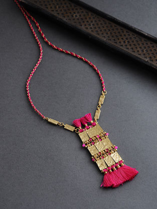Pink Gold Tone Thread Necklace with Tassels