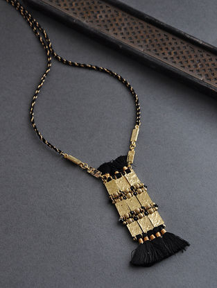 Black Gold Tone Thread Necklace with Tassels