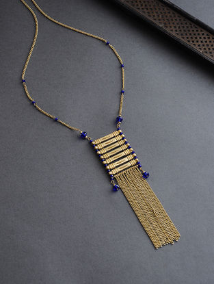 Blue Gold Tone Glass Beaded Necklace