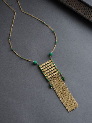 Green Gold Tone Glass Beaded Necklace