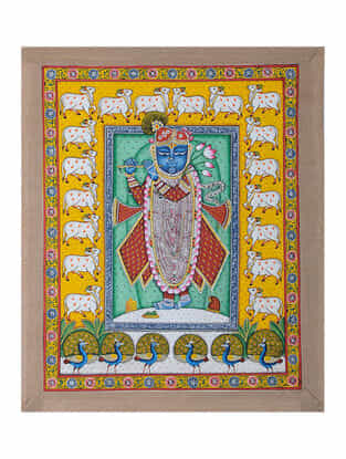 Hand-Painted Pichwai with Shreenathji and Nandi (23in x 19in)