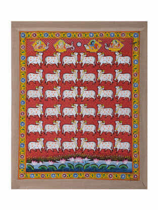 Hand-Painted Pichwai with Nandi Cow (23in x 18in)