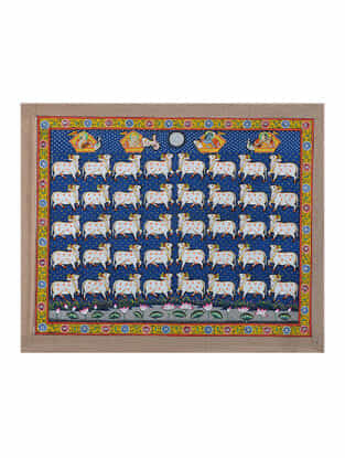Hand-Painted Pichwai with Nandi Cow (18in x 22.5in)