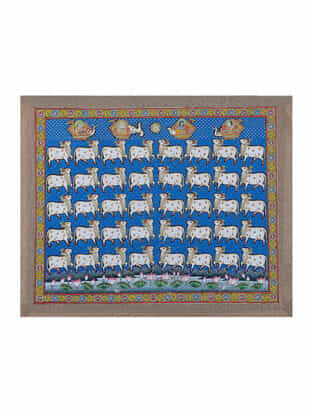 Hand-Painted Pichwai with Nandi Cow (18.5in x 22.5in)