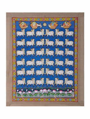 Hand-Painted Pichwai with Nandi Cow (22.5in x 18.5in)