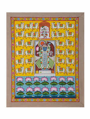 Hand-Painted Pichwai with Radha Krishna (23in x 18.5in)