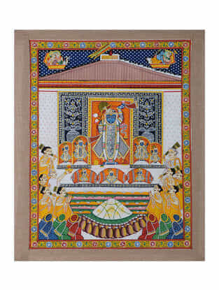 Hand-Painted Pichwai with Shreenathji and Annakut Bhog (23in x 19in)
