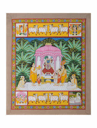 Hand-Painted Pichwai with Priest Worshipping Shreenathji (22in x 18in)