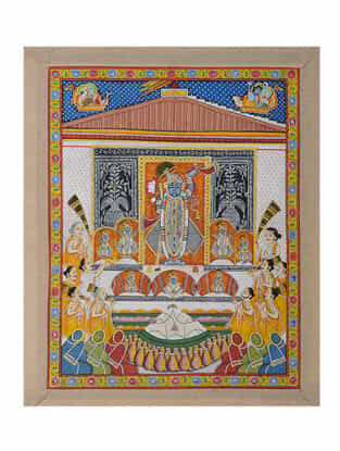 Hand-Painted Pichwai with Shreenathji and Annakut Bhog (22.5in x 19in)