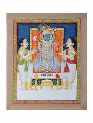 Hand-Painted Pichwai with Priest Worshipping Shreenathji (22.5in x 19in)