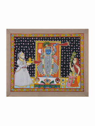 Hand-Painted Pichwai with Priest Worshipping Shreenathji (18.5in x 22.5in)