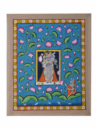 Hand-Painted Pichwai with Shreenathji in Lotus Pond (23in x 18.5in)