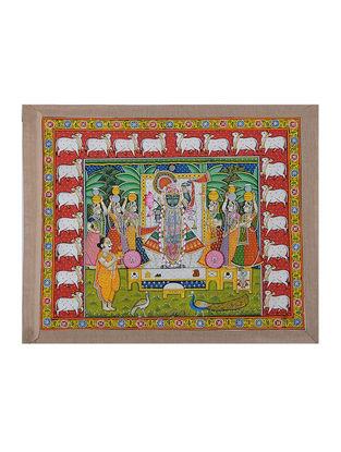 Hand-Painted Pichwai with Shreenathji and Dahi Handi Bhog (18in x 22.5in)