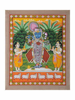 Hand-Painted Pichwai with Priest Worshipping Shreenathji (22.5in x 18.5in)