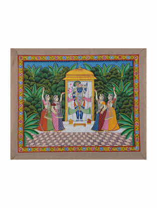 Hand-Painted Pichwai with Shreenathji and Gopis (18.5in x 22.5in)