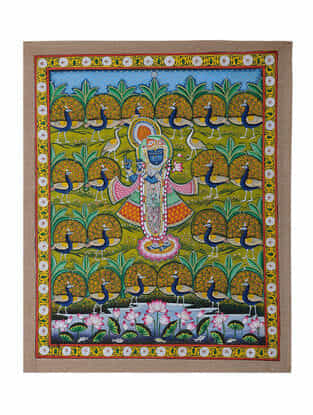 Hand-Painted Pichwai with Shreenathji and Peacock (22in x 18.5in)