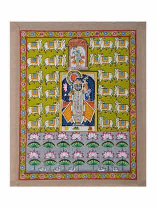 Hand-Painted Pichwai with Shreenathji and Nandi (23in x 18.5in)