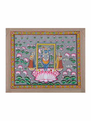 Hand-Painted Pichwai with Shreenathji in Lotus Pond (18.5in x 22.5in)