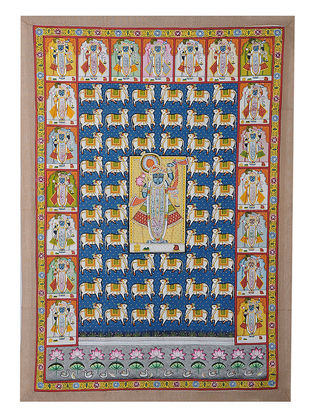 Hand-Painted Pichwai with Shreenathji and Anek Swaroop (39.5in x 27in)