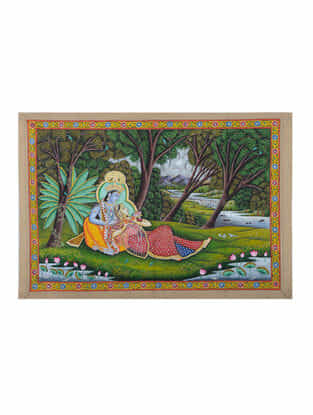 Hand-Painted Pichwai with Radha Krishna (27in x 39.5in)