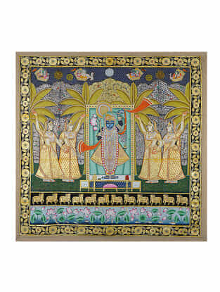 Hand-Painted Pichwai with Shreenathji and Gopis (50in x 50in)