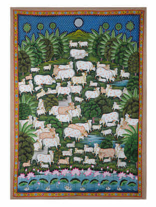 Hand-Painted Pichwai with Cow in Forest (71in x 51in)