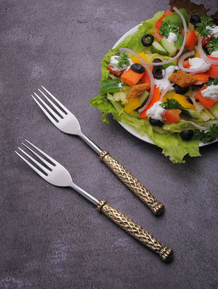 Silver Stainless Steel Fork with Brass Finish (Set of 6) (6.5in x 1in)