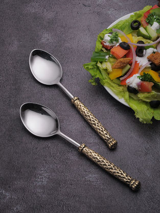 Silver Stainless Steel Table Spoon with Brass Finish (Set of 6) (8.2in x 1.6in)