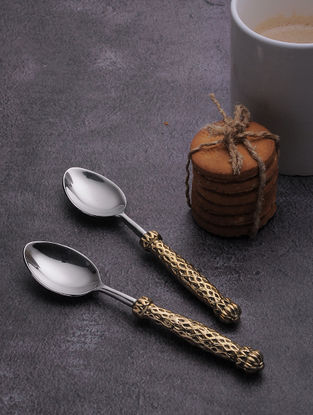 Silver Stainless Steel Dessert Spoon with Brass Finish (Set of 6) (6.3in x 1.2in)