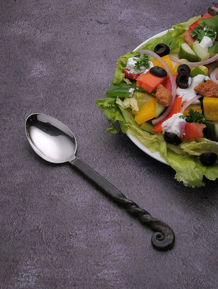 Silver Stainless Steel Table Spoon with Black Finish (Set of 6) (7.5in x 1.5in)