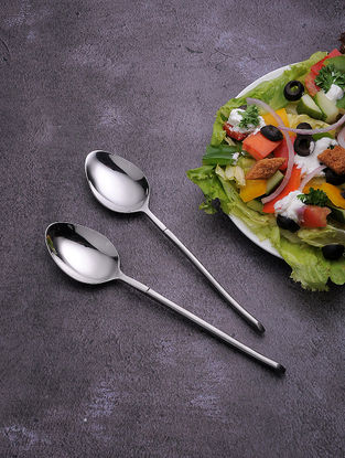 Silver Stainless Steel Table Spoon (Set of 6) (7.6in x 1.5in)