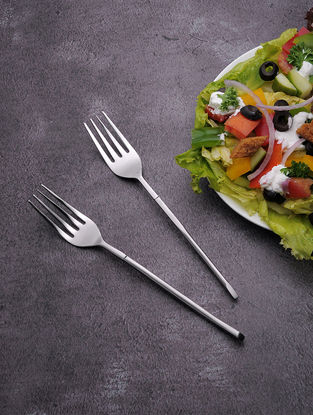 Silver Stainless Steel Fork (Set of 6) (7.5in x 1in)