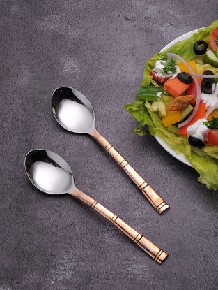 Stainless Steel Table Spoon with Copper Finish (Set of 6) (7in x 1.5in)