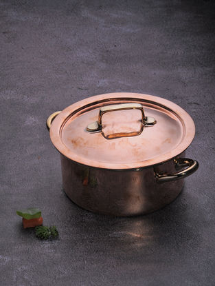Stainless Steel and Copper Casserole with Lid (Dia:6.1in, W:6.1in, H:3.5in)