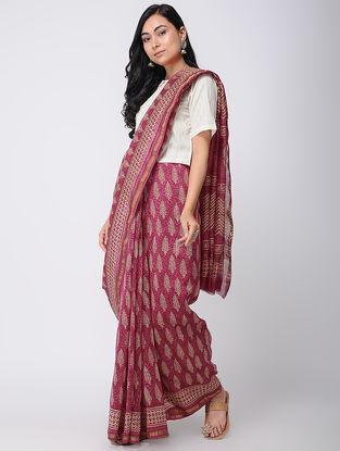 Pink Block-printed Chanderi Saree