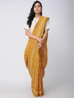Yellow Block-printed Chanderi Saree