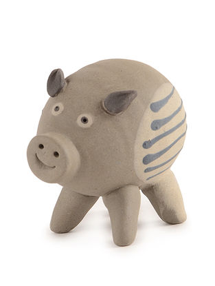 Ceramic Garden Decor with Pig Design (L:3.5in, W:2.5in, H:2.7in)