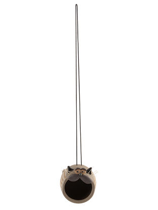 Ceramic Hanging Nest with Cat Design (L:3.5in, W:4.5in, H:4.7in, String:17in)