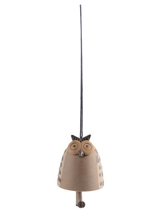 Ceramic Hanging Bell with Owl Design (L:3.5in, W:3.5in, H:4in)