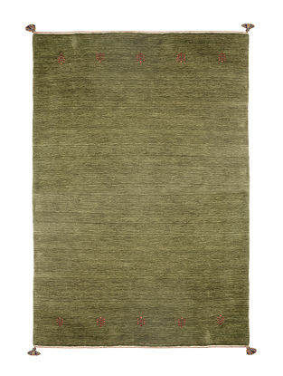 Green Hand Woven Wool Kilim Carpet (L:6.7ft, W:5ft)